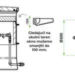 ROTO termo vodomjerno okno Ø600 načrt