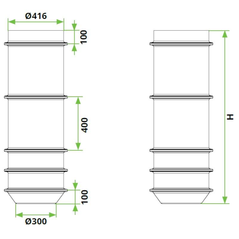 ROTO-peskolv-DN400-dimenzije