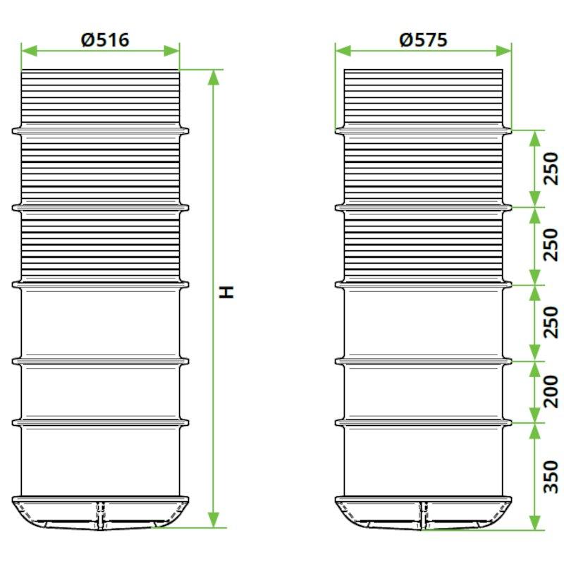 ROTO-peskolv-DN500-dimenzije